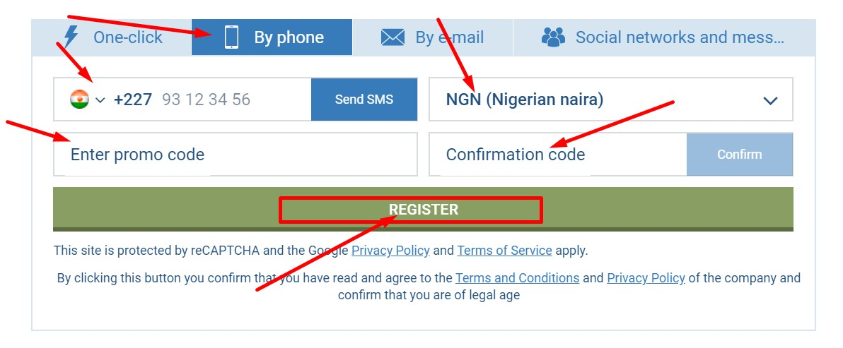 how to register 1xbet using sms